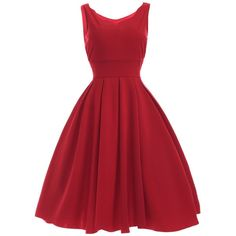 Vintage Sweetheart Neck Red Pleated Dress (73 RON) found on Polyvore featuring women's fashion, dresses, red, vintage pleated dress, sweetheart dress, sweetheart neckline dress, pleated dress and red cocktail dress