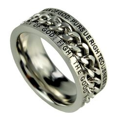 """Man Of God: Pursue Righteousness, Godliness, Faith, Love, Perseverance And Gentleness"""". Bottom of ring band reads, """"Man Of God: Fight The Good Fight Of The Faith In Christ Jesus (1 Tim. 6:6-16)"""""""