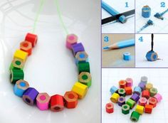 Van (oude) kleurpotloden een kleurrijke ketting maken