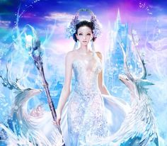 Lady of Winter - Desktop Nexus Wallpapers Background Screensavers, Snow Queen, Ice Queen, Creative Pictures, Lavender Color, Fantasy Girl, Mythical Creatures, Color Combos, Fairy Tales