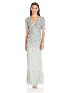 Adrianna Papell Women's 3/4 Sleeve Wrap Front Gown with V-Neckline, Blue Mist, 12. 3/4 sleeve. Gown.