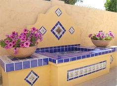 Mexican Patio, Mexican Garden, Spanish Garden, Patio Fountain, Garden Fountains, Outdoor Tiles, Outdoor Rooms, Outdoor Decor, Brick Patios