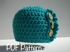 PATTERN:  Ruffle Baby Hat, Easy Crochet PDF, Sizes Newborn to Toddler, buttons beanie, InStaNT DowNLoaD, Permission to Sell