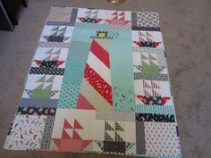 (7) Name: 'Quilting : Lighthouse and Sailboats Quilt
