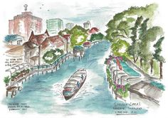 """Whimsical 8""""x10"""" watercolor travel sketch from Thailand featuring life along Bangkok's Sansab Canal"""