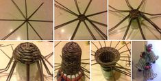 Campanas de papel reciclado paso a paso Paper Weaving, Plant Hanger, Quilling, Christmas Decorations, Basket, Plants, Diy Ideas, Paper Basket, Diy