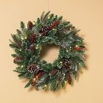 "Indoor or Outdoor Battery Operated 24"" Pre-lit LED Frosted Christmas Wreath For Front Door. Our stunning selection of artificial wreaths and garlands allow you to enjoy all the beauty of traditional holiday foliage without the hassle of shedding needles. Check out our top 10 for 2015."