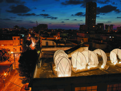 Old Testament nomadic tents in Tel Aviv recreated with high te...
