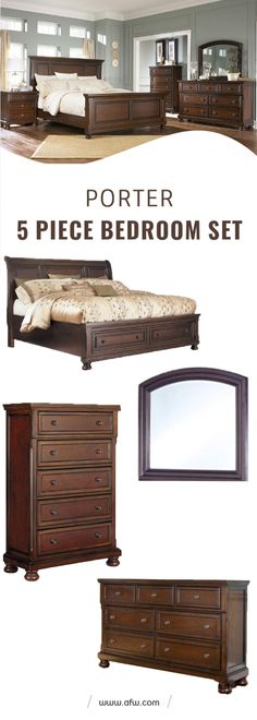 """The warm rustic beauty of the """"Porter"""" bedroom collection uses a deep finish and ornate details to create an inviting furniture collection that fits comfortably into any bedroom decor. The rich look of the burnished brown finish flows beautifully over the decorative framed details and stylishly turned bun feet to flawlessly capture the true feel of grand rustic design. With the dark bronze color hardware adorning this rustic furniture, the """"Porter"""" bedroom collection is the perfect choice…"""