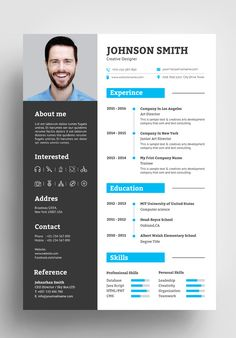 DESCRIPTIONLooking for something that will distinguish you from the competition? resume/CV & Professional Resume Template will fully serve your needs. One Page Resume Template, Resume Design Template, Resume Templates, Modern Cv Template, Design Social, Web Design, Design Trends, Basic Resume, Professional Resume