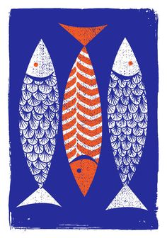 Bright and orderly, 3 Fish is our simple, bold hand printed silkscreen art print.  Designed, illustrated and entirely hand printed the old fashioned way by us here in our studio in Pittsburgh, PA.  - Inks: 2 from 2 screens with hand-mixed True Orange and transparent Indigo Blue non-toxic water based silkscreen inks.  - Edition: We hand pulled and printed 200. Each print is hand signed and numbered by strawberryluna.  - Size: 16 x22 inches (40.64 cm x 55.88 cm).  - Paper: Archival, no-acid…