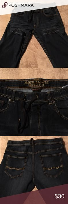 Brand new American Eagle denim joggers Dark blue American Eagle denim joggers Active Flex size LG Men's-brand new w/out tags never worn American Eagle Outfitters Jeans
