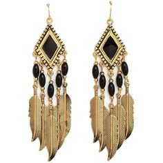Boho Feather Chandelier Earrings (57 ARS) ❤ liked on Polyvore featuring jewelry, earrings, accessories, brincos, gold, long earrings, chandelier earrings, beaded earrings, boho earrings and feather charm