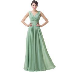 Green Backless Chiffon Floor Length Long Bridesmaid Dress - Uniqistic.com