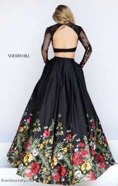 Sherri Hill 50599 Floral Print 2pc Ball Gown- BACK VIEW