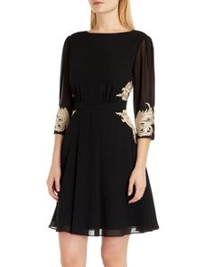 Embroidered detail dress - Black | Dresses | Ted Baker