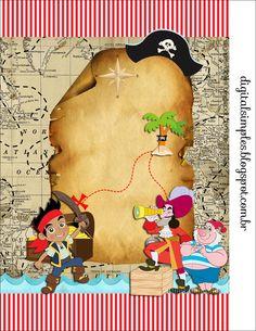 """Kit Artes Digitais """"Jake e os Piratas"""" - Convites Digitais Simples                                                                                                                                                      Mais"""