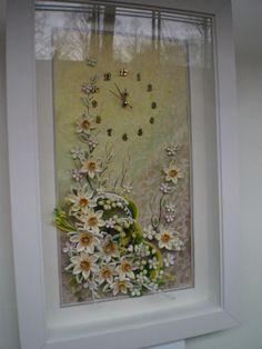 квиллинг, цветы ручной работы, часы настенные, бумажное кружево