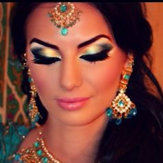 Indian Bridal #Makeup. Gorgeous how they take #eyemakeup and face makeup and bling. LLOOOVVEEE!