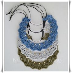 hf Crochet studded necklace 100% cotton