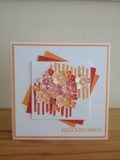 Glückwunsch Stampin´up! Pfirsich Pur Calypso Timeless Textures Playful Backgrounds