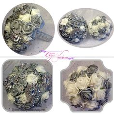 I loved making this silver bouquet package for Clare who was maried on the 26th August. We included sparkly glass brooches & a fabulous silver handle. All colours are available please just ask.  Love Barb xx #SilverBouquet #SilverWedding #SilverBroochBouquet
