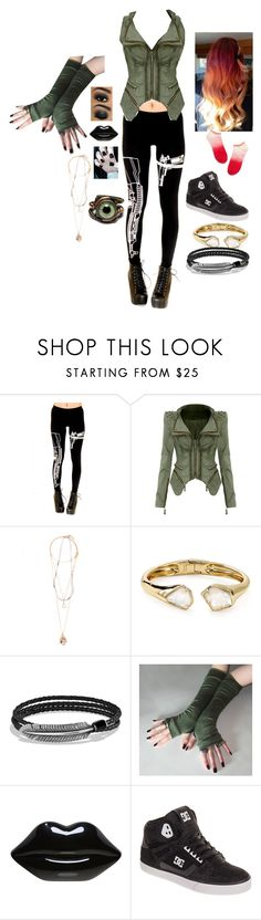 """Untitled #475"" by zeroznation ❤ liked on Polyvore featuring Pull&Bear, Alexis Bittar, David Yurman, Lulu Guinness, DC Shoes and Madewell"