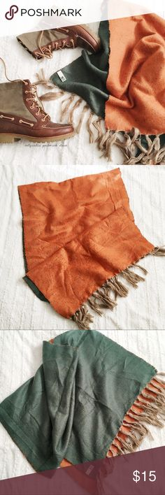 """Green Orange + Tan Fringe Blanket Scarf ✦PRICE IS FIRM-NO OFFERS-PLEASE BUNDLE FOR DISCOUNT✦{I am not a professional photographer, actual color of item may vary ➾slightly from pics}  ❥Length: about 73.5"""" w/out fringe. Fringe:4.5"""" ❥Width:25""""   ➳material/care:acrylic/machine wash  ➳fit:wide blanket scarf  ➳condition:gently used/newer  ✦20% off bundles of 3/more items ✦No Trades  ✦NO HOLDS ✦No transactions outside Poshmark  ✦No lowball offers/sales are final 14th & Union Accessories Scarves…"""