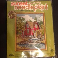 Sunset Design Needlepoint Kit Autumn Mill Pond Crewel Vintage Sealed Package #SunsetDesigns