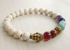 7 Chakra Bracelet, Buddha Bracelet Materials: - 8mm White Howlite - 8mm ,Agate, Aventurine, Jasper, Jade, Turquoise Howlite, Amazonite, Amethist -