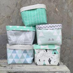 Image of Grey feather, cactus/teepee, mint/grey tri, mint herringbone, blue/green tri fabric basket