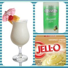 Pina Colada Pudding Shots 1 small Pkg. coconut creme instant pudding ¾ Cup Milk 3/4 Pineapple rum 8oz tub Cool Whip  Directions 1. Whisk together the milk, liquor, and instant pudding mix in a bowl until combined. 2. Add cool whip a little at a time with whisk. 3.Spoon the pudding mixture into shot glasses, disposable 'party shot' cups or 1 or 2 ounce cups with lids. Place in freezer for at least 2 hours