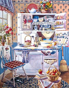 $65 'Grandma's Kitchen Corner' by Erin Dertner ~ 16 x 12 - Impressionist watercolor painting of a bustling and colorful country kitchen. Signed and Numbered Offset Lithograph Reproduction on premium quality paper; limited edition of 500.