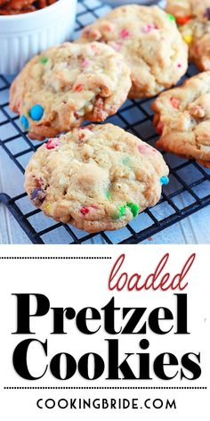 Salty pretzels, chewy coconut, and sweet M&M's give these loaded pretzel cookies an abundance of tastes and textures. Best Cookie Recipes, Good Healthy Recipes, Baking Recipes, Dessert Recipes, Desserts, Eat Healthy, Pretzel Cookies, Yummy Cookies, Pretzels