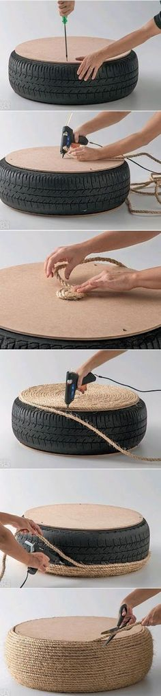 """Got a spare tire? Wrap it with rope for a cool nautical floor """"cushion"""". How to make a DIY Tire Ottoman. As a matter of fact I DO have a spare tire. Don't want a tire in the house! Fun Crafts, Diy And Crafts, Arts And Crafts, Diy Projects To Try, Craft Projects, Do It Yourself Projects, Make It Yourself, Tire Ottoman, Upholstered Ottoman"""