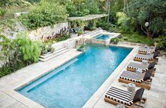 Browse swimming pool designs to get inspiration for your own backyard oasis. Discover pool deck ideas and landscaping options to create your poolside dream. Backyard Covered Patios, Small Backyard Pools, Backyard Pool Landscaping, Backyard Pool Designs, Backyard Pergola, Swimming Pool Designs, Pergola Designs, Outdoor Pool, Landscaping Ideas