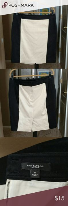 Ann Taylor Very Flattering Pencil Skirt! Size 14 This Ann Taylor pencil skirt is very flattering because of the color blocking ~ Light tan and black on the sides. Size 14. Please note that it does have 2 tiny gray dots as seen in pic 4. Not really that noticable! Please feel free to ask any questions and make reasonable offers! Bundle discount! Ann Taylor Skirts Pencil