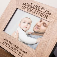 Engraved Wooden Picture Frame - Godfather | GettingPersonal.co.uk