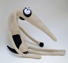 Whippet Hund Plüsch Hund schwarz-weiss Kunst Puppe von sausagedog