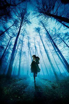 girl running away in woods   woman, running, through, forest, woods, trees, towards, fleeing, away ...