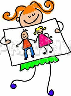 Happy Cartoon My Parents Picture Girl Toddler Art Prawny Clip Art