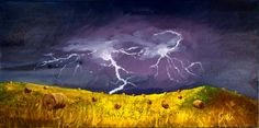 Hay Bales Lightening Oil on stretched canvas