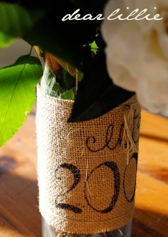 Cute DIY burlap vase...all you need is burlap & sharpie!