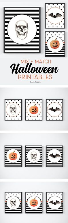 Darling mix and match free Halloween printables to make decorating for Halloween so fun and easy! Stripes and polka dots for the win!