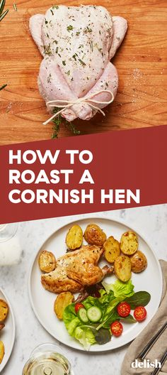 How To Roast A Cornish Hen Like A Pro When tasked with cooking for guests, a good roast chicken always satisfies. Yummy Chicken Recipes, Turkey Recipes, Meat Recipes, Dinner Recipes, Cooking Recipes, Healthy Recipes, Cooking Tips, Recipies, Cornish Hen Recipes Oven