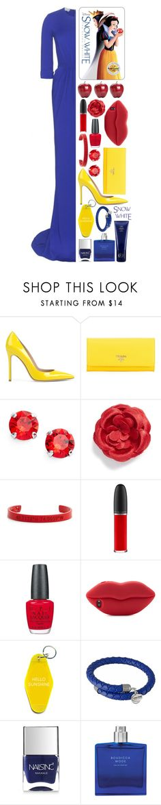 """""""Snow White: Contest Entry"""" by isquaglia ❤ liked on Polyvore featuring Gianvito Rossi, Prada, L. Erickson, hook + Albert, Coordinates Collection, MAC Cosmetics, OPI, STELLA McCARTNEY, Three Potato Four and Alex and Ani"""
