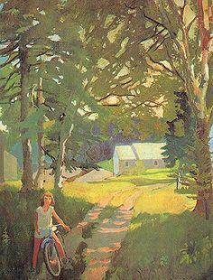 Whitney Museum of American Art: Fairfield Porter: The Garden Road Fairfield Porter, Landscape Art, Landscape Paintings, Illustrations, Illustration Art, Kunst Online, Social Art, Whitney Museum, Painting Inspiration