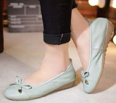 Women's #skyblue leather shoe #loafer easy slip on butterfly lace decorated on vamp, Low cut, Round toe design.