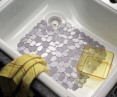 mDesign Pebbles Kitchen Sink Protector Mat, Graphite Metr...