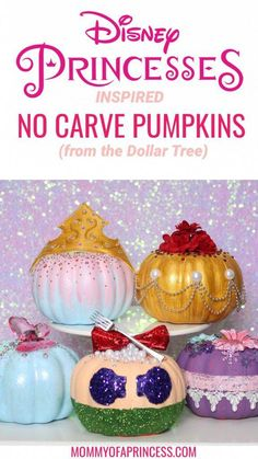No carve Disney Princess pumpkins to make with your daughter this fall. Easy and cheap to make using Dollar Tree pumpkins. Pumpkin Decorating Contest, Pumpkin Contest, Fall Decorating, Pumpkin Crafts, Cute Pumpkin, No Carve Pumpkin Ideas, Purple Pumpkin, Pumpkin Pumpkin, Healthy Pumpkin